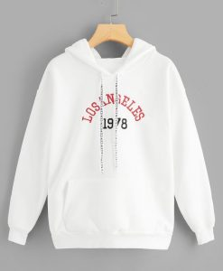 Letter Embroidered Drawstring Hoodie AY