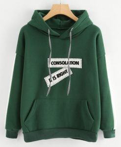 Patch Detail Contrast Panel Sleeve Hoodie AY