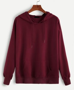 Red Hooded Drawstring Sweatshirt AY