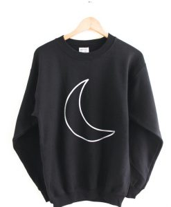 Silver Metallic Crescent Moon Black Crewneck Sweatshirt AY