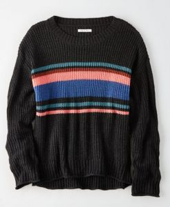 AE Striped Crew Neck Oversized Sweater ay