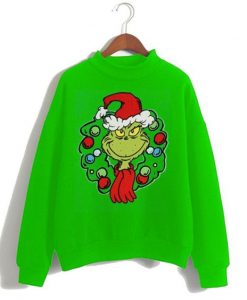 Dr. Seuss Big Boys Grinch Wreath Ugly Sweatshirt AY