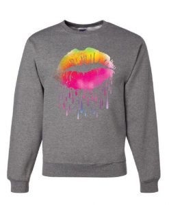 Dripping Neon Lips Sweatshirt AY