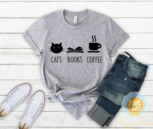 Funny Cat Lover Gift, Cat Mom Shirt for Women - Cats Books Coffee T-Shirt AY