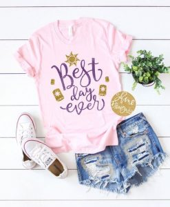 Best Day Ever Tangled Glitter ShirtAY