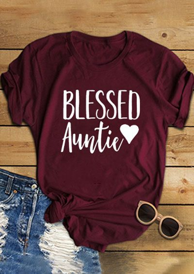 Blessed Auntie Heart O-Neck T-Shirt AY